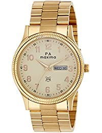 Maxima Analog Champagne Dial Men's Watch - 45223CMGY