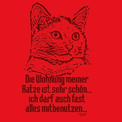 Katzen Girlie T-Shirt für Damen und Mädchen / Tier-Freunde als tolle Geschenk-Idee / Print-Katzenmotiv: Die Wohnung meiner Katze Farbe: rot Rot