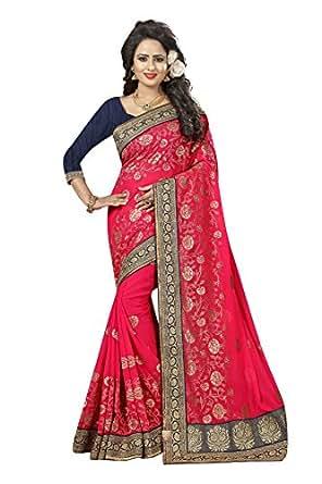 Flaunt365 Jari Embroidery Georgette Sari in Pink
