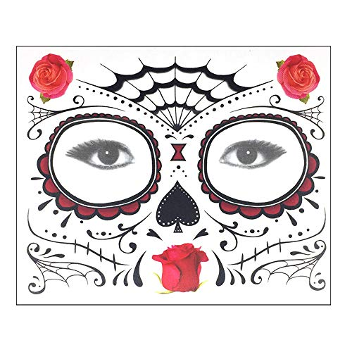 QinMM W Halloween Dekoration,Halloween temporäre Gesicht Kunst wasserdichte Maske Sugar Skull Tattoo Beauty Sticker
