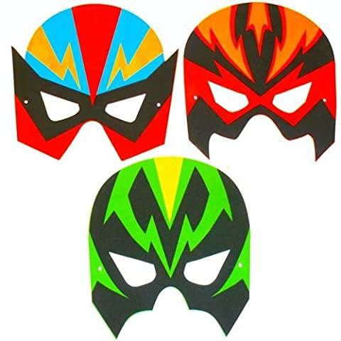 4 Superhero face masks.EVA ,CERTIFIED.PLAYWRITE GROUP,PARTY BAG