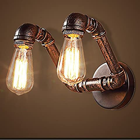 Sanyi Vintage Water Pipe Wall Light Fixture Industrial Brass 2-Light Wall Sconce Edison Lamp Retro Metal Wall light Retro Ceiling Pedant Light Fixture Retro Wall