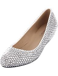 VELCANS Moda Mujer Diamante De Imitación e Perlas Novias Boda Tacones Altos Para Fiesta e Paseo Cuñas Zapatos