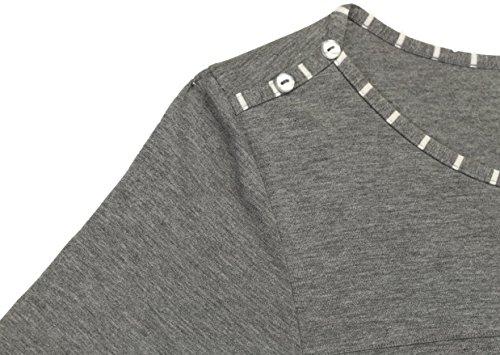 Suntasty Damen Nachthemd gestreifter Nachtkleid - kurz Sleepshirt Baumwolle 3/4-Ärmel Negligee Schlafkleid Nachtwäsche Weiß