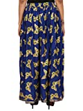 Royal blue Rayon Staple Gold Printed Straight Skirt for women (free Size) Waistband: Elastic