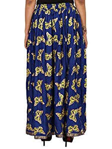 Royal blueRayon Staple Gold Printed Straight Skirt for women (free Size) Waistband: Elastic