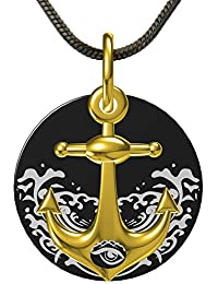 Eye of Poseidon anchor chain pendant, necklace anchor for men and women, with black stainless steel chain and Casisto.J gift box.