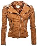 Damen Kunstleder Jacke Sommer Übergangs Kunst Leder Jacke Jacket B143 [Braun - Gr.L]