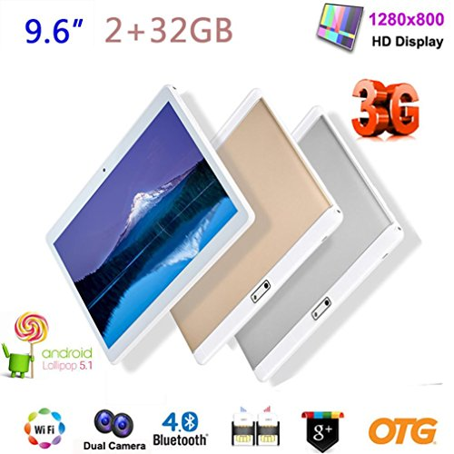N970-9.6 Inch 3G Phablet Quad Core, 32GB ROM 2GB RAM, Android 6.0 Phone Tablet PC, Unlocked Dual Sim Card Slots, 2.0 MP Dual Camera, Bluetooth, GPS, WIFI,OTG,Google,GPS,4500mAh