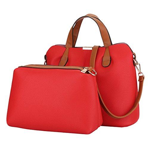 DISSA S871 neuer Stil PU Leder Deman 2018 Mode Schultertaschen handtaschen Henkeltaschen set,320×145×275(mm) Rot