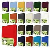 leevitex Drap housse en jersey 100% coton dans diverses tailles et couleurs-Conforme à la qualité Oeko-Tex Standard 100, 100 % coton, rouge, 120x200 cm