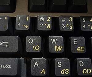 Tschechisch transparente Tastaturaufkleber mit Gelben Buchstaben - Geeignet für jede Tastatur