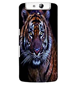 ColourCraft Scary Tiger Look Design Back Case Cover for OPPO N1