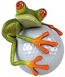 Sticker Frosch Golfball I kfz_012 I 10 x 11 cm groß I Fahrzeug-Aufkleber wetterfest Auto-Aufkleber Motorrad Notebook Laptop für Golfer Golf-Spieler