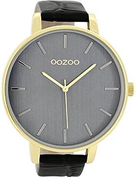 Oozoo Damenuhr mit Lederband 48 MM Vergoldet/Schwarz/Schwarz C8664
