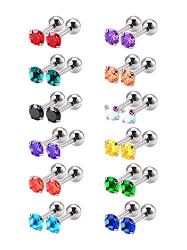 12 Paare 18 Gauge Edelstahl Kubisch Zirkonia Ohrringe Stud Helix Ohrstecker, 12 Farben -