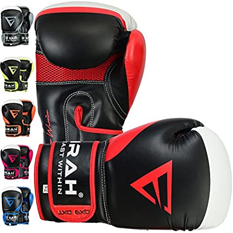 EMRAH Charged V-2 Boxing Gloves Muay Thai Training Maya Hide Leather Sparring Punching Bag Mitts kickboxing Fighting (Red, 14
