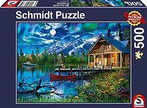 Schmidt Spiele Puzzle 58365Lago en montañas Luz de la Luna, 500Piezas Puzzle