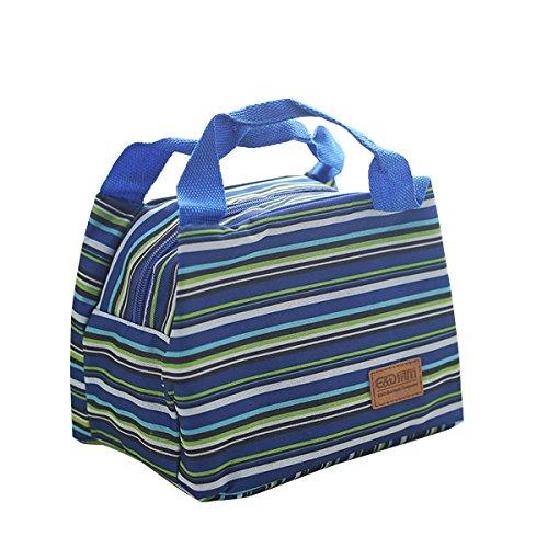 Blau Gestreifte Tote (Fletion Gestreifte Oxford-Tuch Isolierung Tasche Tragbare Mittagessen Tasche Frische Taschen Brotdose Tasche)