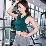 QIAO Sport-BH für Damen, stoßfeste Laufunterwäsche, Yoga-Fitness-Weste, hochelastisch und atmungsaktiv,Green,L