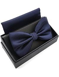 Massi Morino ® Nœud Papillon avec Pochette Coordonnée – Bande Réglable –  Aspect Soyeux ... bfa6c96a1a4