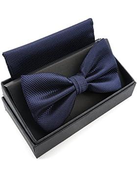 Massi Morino Pajarita con pañuelo en caja de regalo, pajarita en diferentes colores hecha de microfibra, moño...