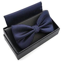 Idea Regalo - Massi Morino Papillon con fazzoletto in confezione regalo, papillon - set in diversi colori in microfibra, fiocco regolabile con fazzoletto coordinato (Blu scuro)