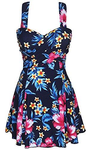 Eleganter Einteiliger Damen Badeanzug mit Röckchen Bandeau Badekleid mit Push Up Effekt Schwimmanzug mit flachem Bauch Sakura-Blumendruck