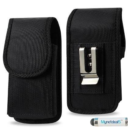 LG G Flex Vertikal Schwarz Heavy Duty Rugged Leinwand Case mit Metall Clip und Gürtelschlaufe. Ideal für Wandern, Camping, Outdoor und Konstruktion Work (mh02d) + mynetdeals Mini Touchscreen Stylus (G-flex-leinwand)