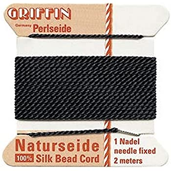 Size 4 Jet Black Griffin Silk Beading Cord and Needle