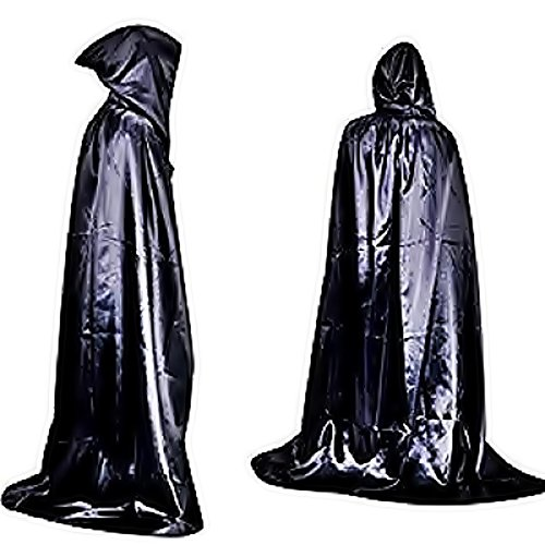 Taglia unica - Mantello per Costume - Travestimento - di Carnevale - Halloween - Vampiro - Dracula - Twilight - Nero Lucido - Translucido - Cappuccio - Adulti - Unisex - Donna - Uomo - Ragazzi