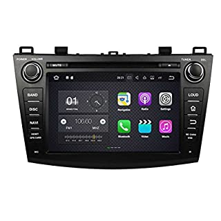 8 Zoll Doppel Din Android 7.1 OS Autoradio für Mazda 3 2010 2011 2012 2013, kapazitiver Touchscreen mit Quad Core 1.6G Cortex A9 CPU 16G Flash und 2G DDR3 RAM GPS Navi Radio DVD Player 3G/WiFi