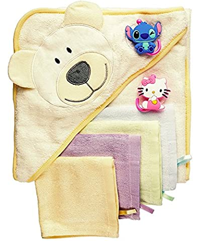 Baby Bath Gift Set: Bamboo Hooded Towel + 6 Washcloths + 2 Suction Cup Hooks + Baby Massage Ebook by BabyVoice (Large, Creamy)