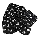 Generic Warm Black Fleece Blanket Pet Dog Paw Print Pattern Soft Bed Mat--M