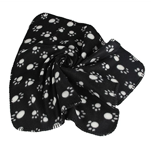 Generic Warm Black Fleece Blanket Pet Dog Paw Print Pattern Soft Bed Mat--M