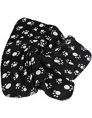 Pet Dog's Warm Fleece Paw Print Pattern Soft Bed Mat Blanket (Black, m)