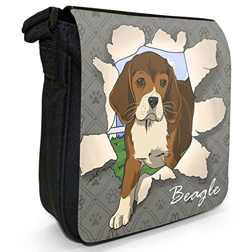 Spezzare cani piccola borsa a tracolla tela nera, misura piccola Beagle Breaking Through