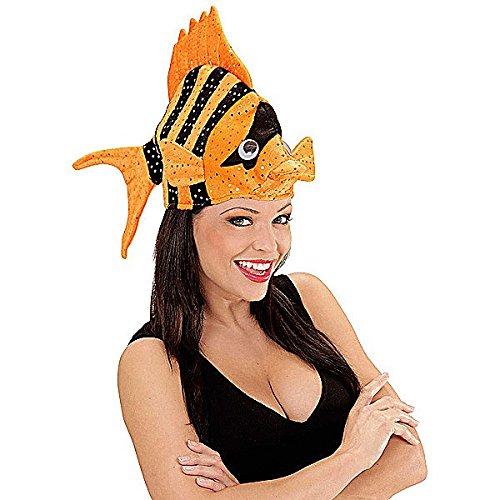 Tropen Fisch Karneval Mütze orange-schwarz (Kostüm Orange Fisch)