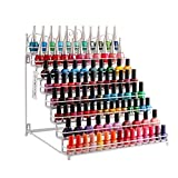 P&B Metal Nail Polish Stand Holder 8 Tier Nail Polish Display Rack Shelf Tabletop Makeup Storage Organiser for Essential Oils Perfume (White)