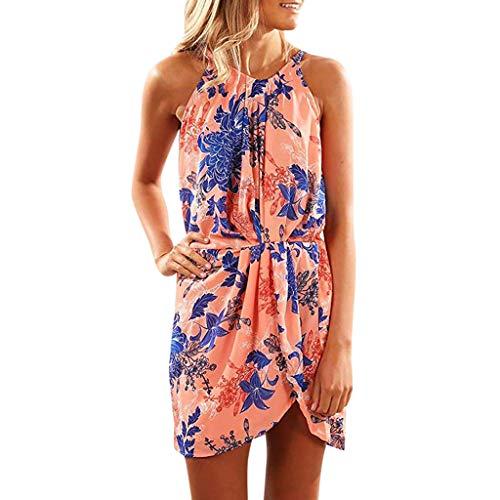 Streetwear Kleid VENMO Damen Festliche elegant Kleid Plus Size Damen Knielang Retro V-Ausschnitt Höhe Taille (Ballkleid Orange Prom)