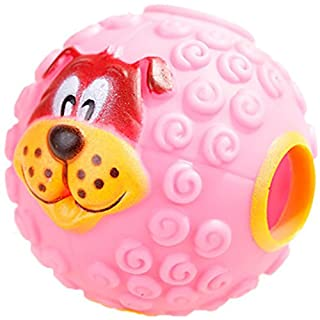 Leakage Food Ball,AmaMary Cute 3D Dog Pattern Squeaky Giggle Quack Sound Toy Ball Training Dogs Food Dispenser Durable Chew Toys for Pet Dog (S, Pink)