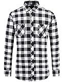 JEETOO Klassics Herren Slim Hemd Kariert Kentkragen Herbst/Winter Langarm Shirts Regular Fit Freizeit Karohemd Aus Baumwolle (Large,Schwarz und Weiß)
