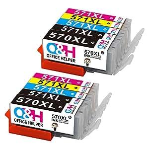 OFFICE HELPER Compatibile Canon PGI-570 CLI-571 PGI-570XL CLI-571XL Cartucce d'inchiostro Compatibile con Canon Pixma MG5750 TS5050 MG5751 MG5753 MG6850 MG6851 MG6852 TS5051 TS5053 TS5055 TS6050 TS6051 10PK(2 PGBK,2 Black,2 Cyan,2 Magenta,2 Yellow)