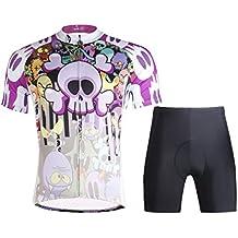hebike mujeres de dibujos animados cráneo ciclismo bicicleta Maillot de manga corta Top + pantalones cortos Set/bicicleta ciclo camiseta Suit, hombre Niños Infantil, color Jersey + Pants, tamaño S