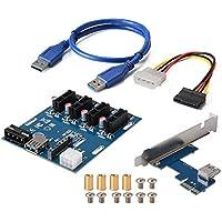 XCSOURCE PCI-E Express 1X Multiplicador de 1 a 4 puertos Multiplier Expansion Hub Riser Card + 4 pines SATA Power Connector + USB 3.0 Cable AC817