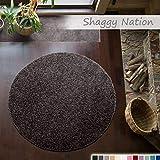 Shaggy-Teppich | Flauschiger Hochflor für Wohnzimmer, Schlafzimmer, Kinderzimmer oder Flur Läufer | einfarbig, schadstoffgeprüft, allergikergeeignet | Dunkelgrau - 120 cm rund