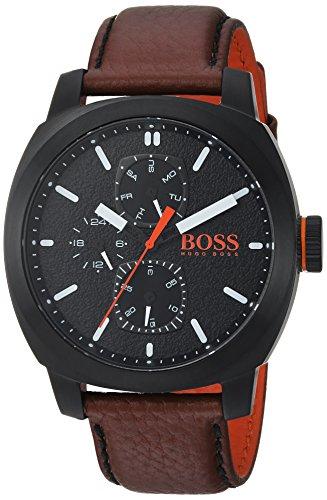 Hugo Boss de los hombres de Ciudad del Cabo de cuarzo reloj Casual de piel y acero inoxidable, color: marrón (modelo: 1550028)