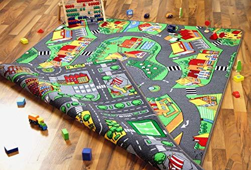 Lernen und Spielen Straßenteppich Beidseitig Little Village Metropolis, Größe:140x200 cm