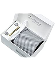 Coffret Cadeau Ensemble Cravate homme, Mouchoir de poche, épingle et boutons de manchette Gris a points