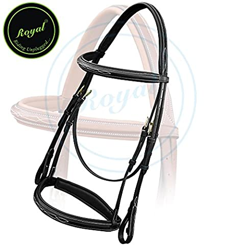 Royal Comfort Fancy Padded Bridle with PP Rubber Grip Reins./ Vegetable Tanned Leather./ Brass